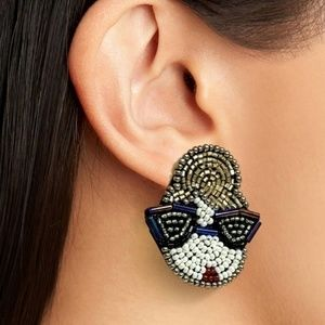 Statement earrings, beaded embroidery jewelry